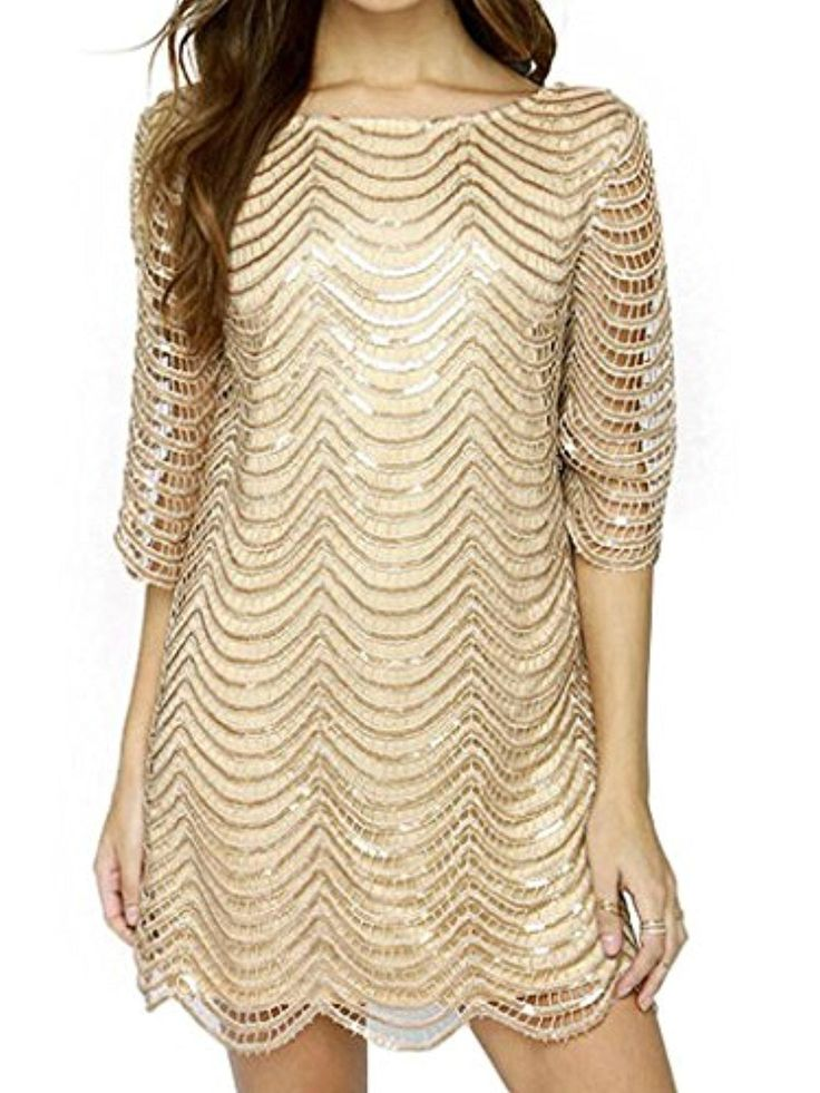 Joeoy Women's Metallic 3/4 Sleeve Wave Gold Shift Party Dress With Scallop Edge-XXL - Brought to you by Avarsha.com