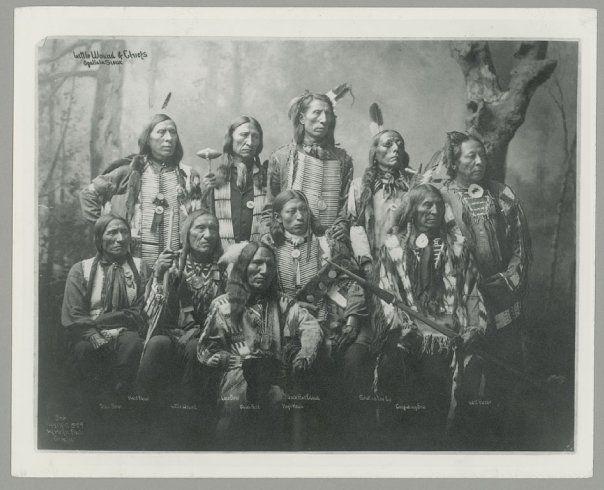 Standing L-R: Hard Heart (Oglala), Lone Bear (Oglala), Jack Red Cloud (Oglala), Shot In The Eye (Oglala), Last Horse (Oglala) Sitting L-R: Black Bear (Oglala), Little Wound (Oglala), Black Bird (Oglala), High Hawk (Oglala),Conquering Bear (Oglala) – 1899