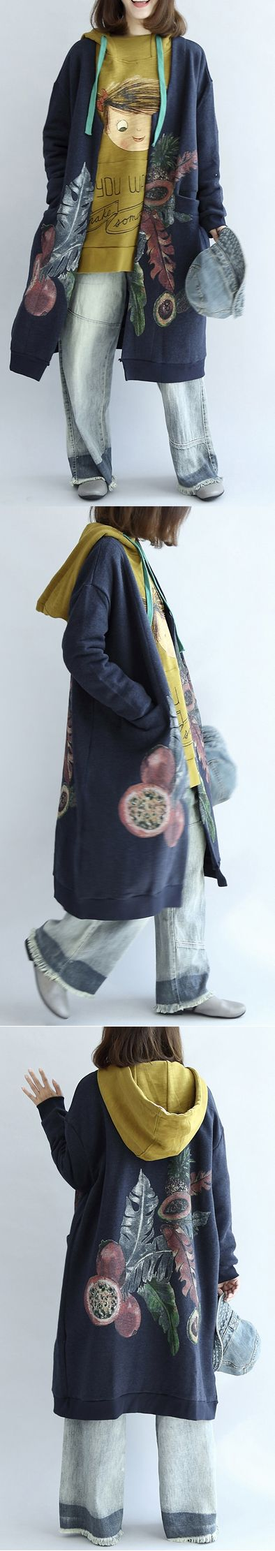 Vintage-blue-prints-cotton-cardigans-plus-size-v-neck-long-sleeve-trench-coats