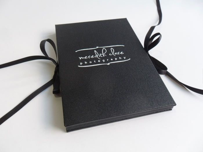 Concertina album with double ribbon ties and white foil