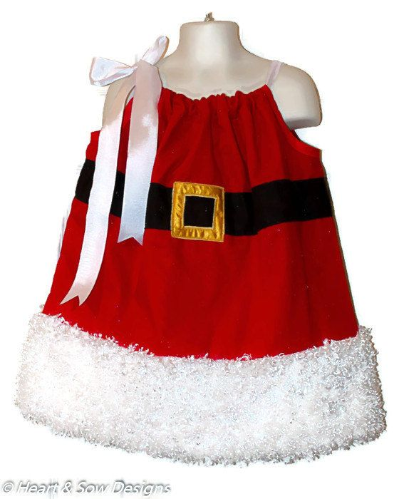 Mrs. Claus Christmas Pillowcase Dress  Infant to 10  by HeartnSow, $25.00