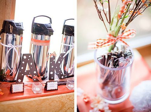 Coffee Station Idea: I like how they put ribbon on the coffee thermos #coffeethermos
