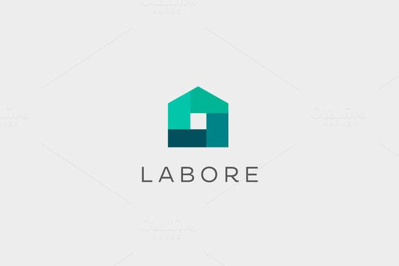 Abstract house logo design template. by iamguru on Creative Market