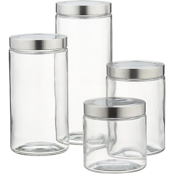 For Pantry Dry Storage Of Grains, And Beans. Glass Storage Containers With  Stainless Steel