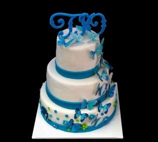 Свадебный торт сине белый