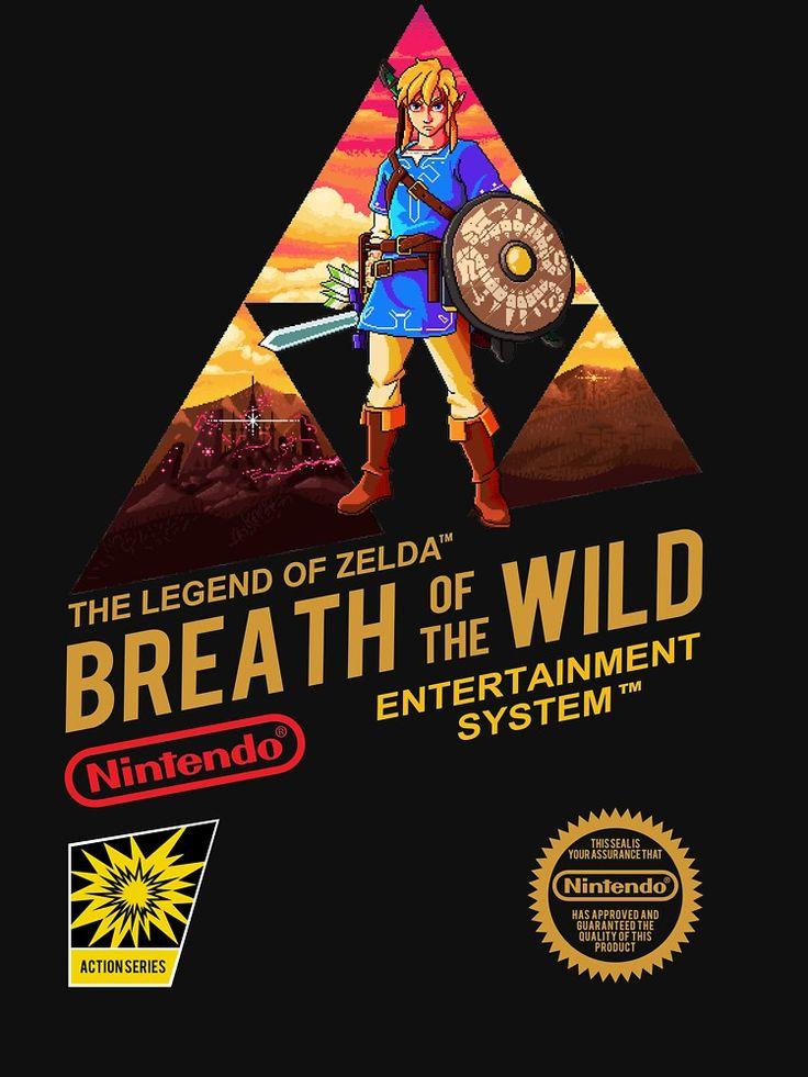 cool Legend of ZELDA - Breath of the Wild NES Style Oldschool retro NES cartridge cover design T-SHIRT. zelda, legend of zelda, breath of the wild, pixel art, nintendo, 8 bit, nes, nintendo entertainment system, retro, cool, classic, cover, nes cover, cartridge cover, link, calamity ganon, hyrule castle, triforce, twilight, orange, red, blue, black, hyrule, master sword, champion tunic, 16 bit, super nintendo, nintendo switch, game shirt, nintendo seal, label, nintendo assurance seal, poster