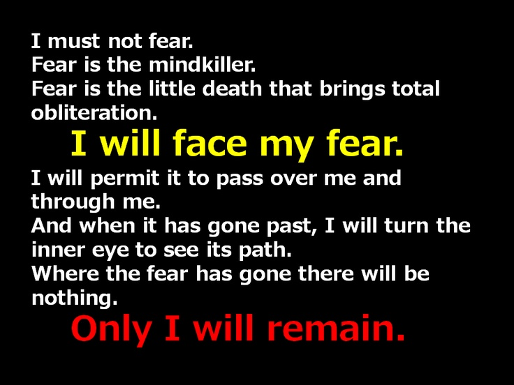 I will face my fear.  For in the end, only I will remain.        Bene Gesserit Litany Against Fear - From Frank Herbert's Dune Book Series  © 1965 and 1984 Frank Herbert  Published by Putnam Pub Group  ISBN: 0399128964
