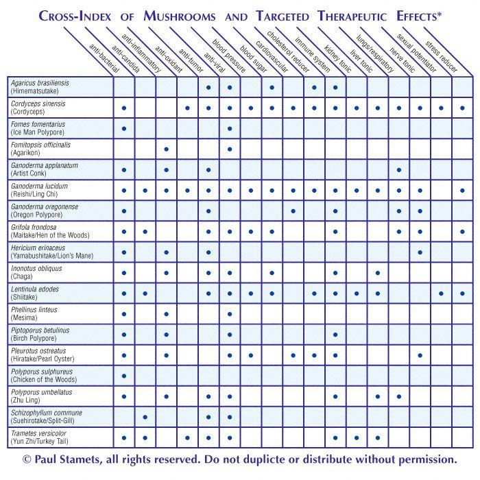 Medicinal Charts Gourmet And Medicinal Mushrooms