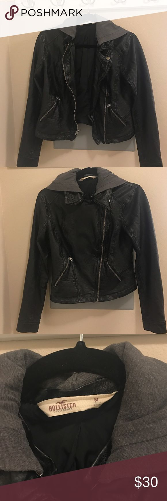 HOLLISTER VEGAN LEATHER JACKET Vegan leather jacket with hood from Hollister. Worn but in good condition. Very popular style not sold in stores anymore. Looks exactly like free people version. I have both and can't tell the difference honestly. Hollister Jackets & Coats