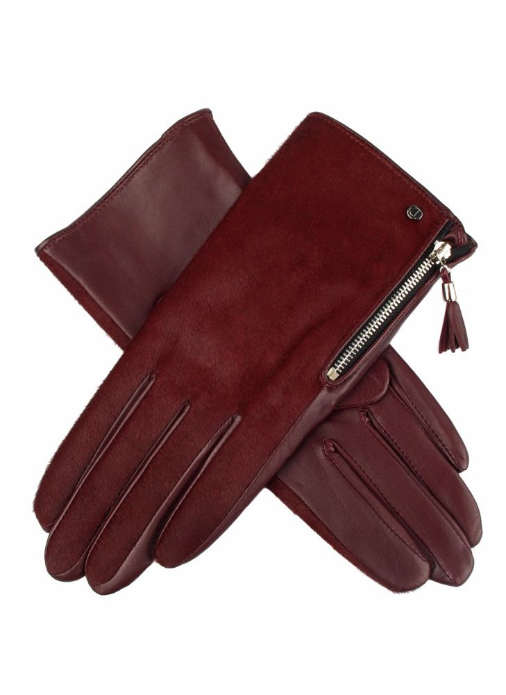 Bordeaux. Women's leather and ponyskin gloves. | @ gloves