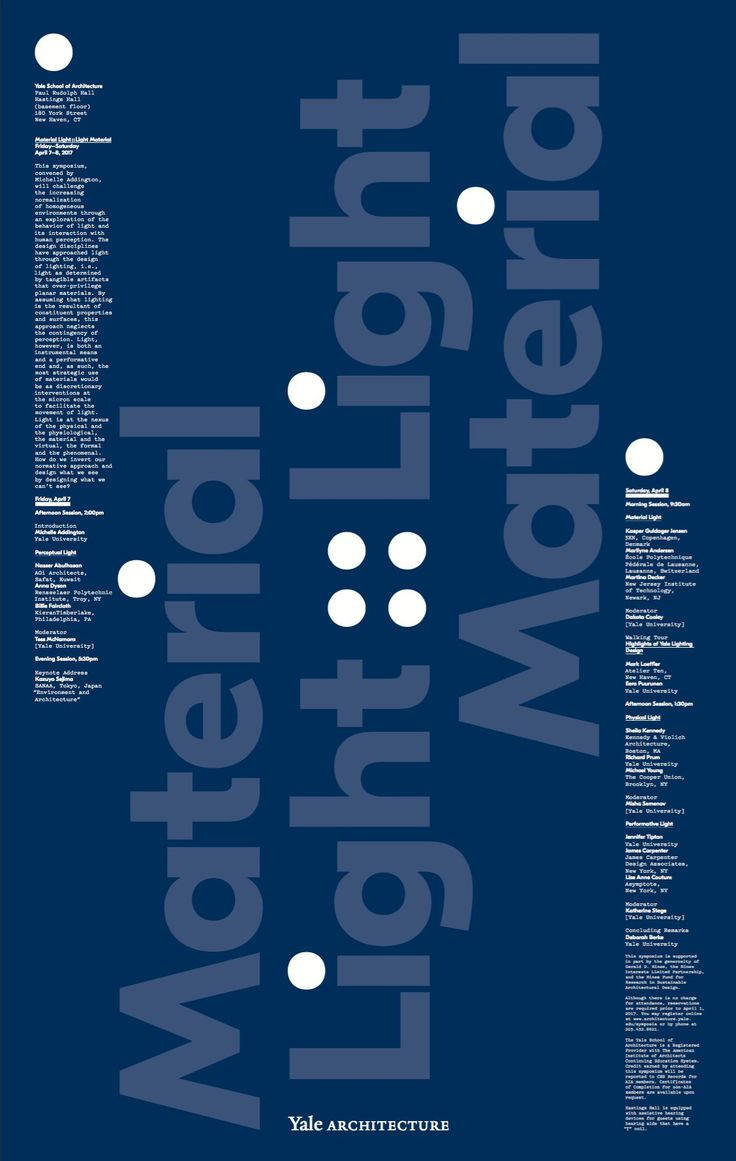 Poster design for symposium - Poster For Material Light Light Material Symposium At Yale Designed By Michael Bierut