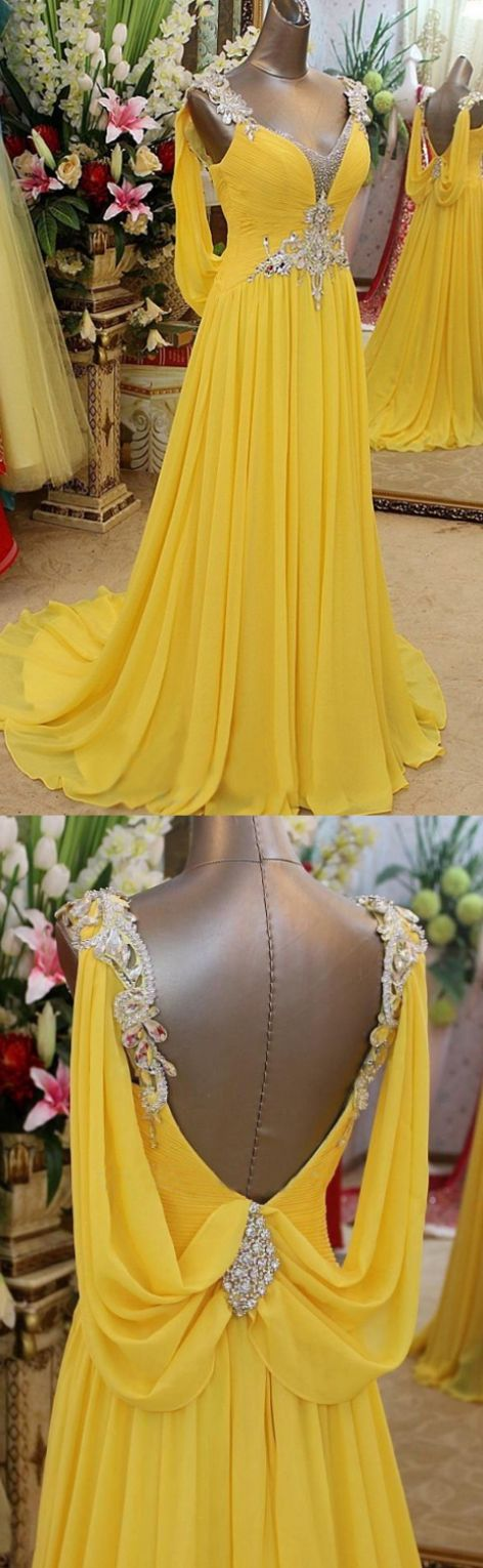 A-line Prom Dresses, Yellow A line Prom Dres