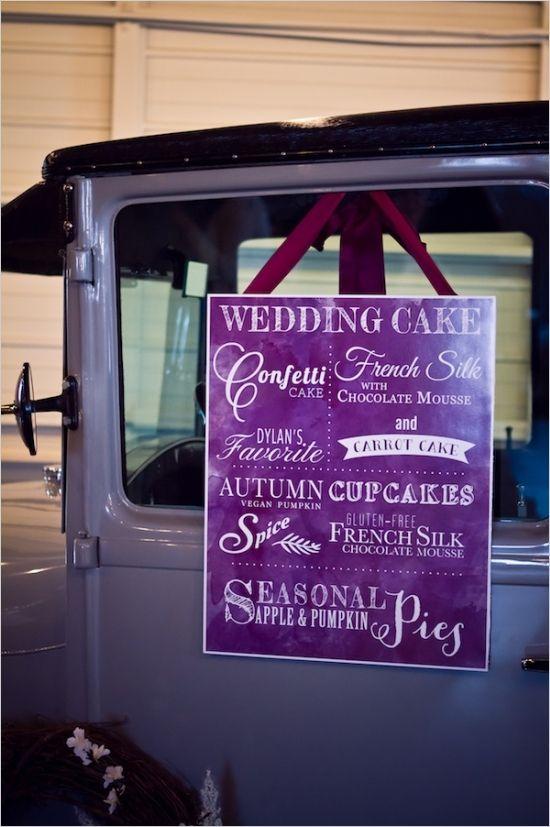wedding dessert sign purpleflowers #weddingsign  #weddingchicks http://www.weddingchicks.com/2014/01/14/deep-purple-wedding/