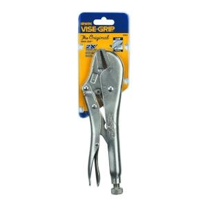 Two tools to make pulling up carpet easier: a utility knife to cut sections, and a locking pliers to give your hands added gripping power