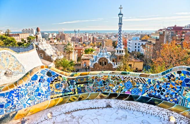 Park Güell, Barcelona, Spain. Gaudí uses the Collserola foothills as his canvas -- an architectural park with houses, fountains, pillars, and walkways that appear to be extensions of nature