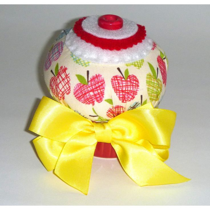 Apple Cupcake Pin Cushion with Ceramic base