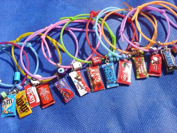 chocolate bar rubber charm bracelet by andreachalari on Etsy, $5.50