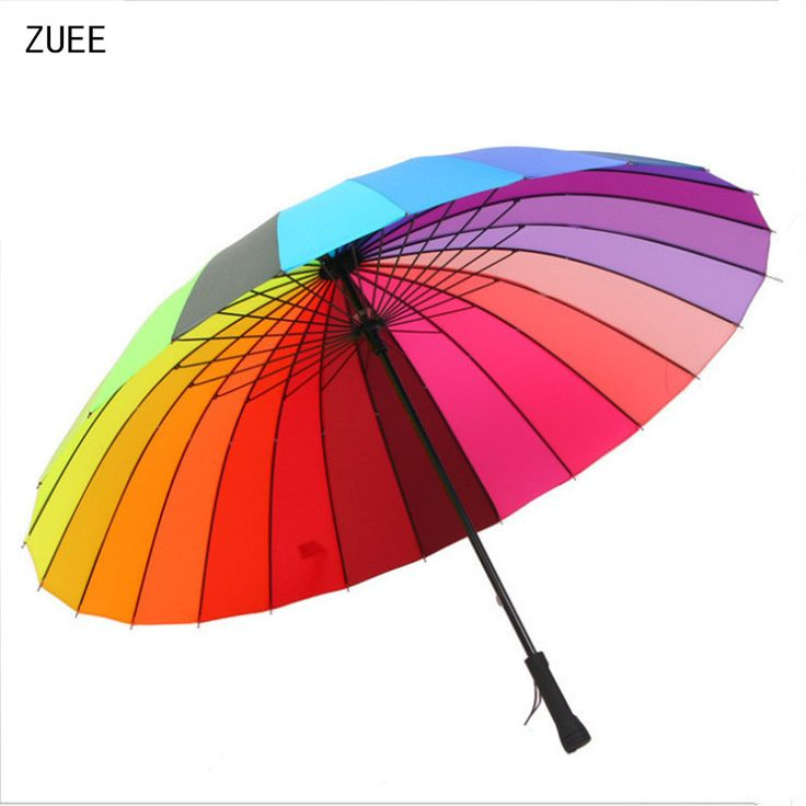 ZUEE High Quality Large 24k Rainbow Long Handle Rain Umbrella Straight Rain Sun Umbrellas Windproof Man Woman Umbrella FH207