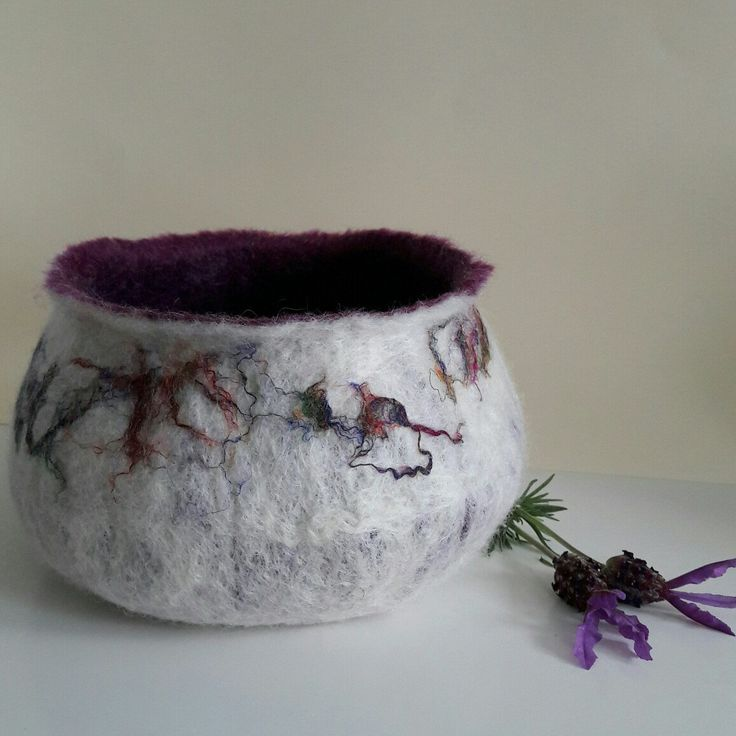 New sari silk felted bowl in my Etsy shop. This one is slightly larger than my others. Soft purple merino wool on the inside to keep your treasures safe ❤.  This bowl is called Esme.