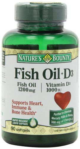 Nature's Bounty Omega 3 plus D3 Fish Oil 1200 mg Vitamin D 1000 IU Softgels 90 softgels (Pack of 2) * More info could be found at the image url.