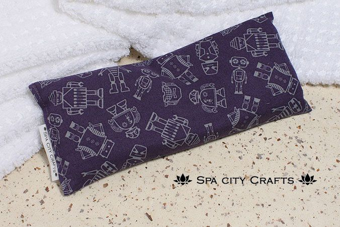 ORGANIC FLAX SEED eye pillow purple robot cotton print lavender sleep mask eye shade for relaxation headache sinus relief use hot or cold by SpaCityCrafts on Etsy https://www.etsy.com/listing/222337663/organic-flax-seed-eye-pillow-purple