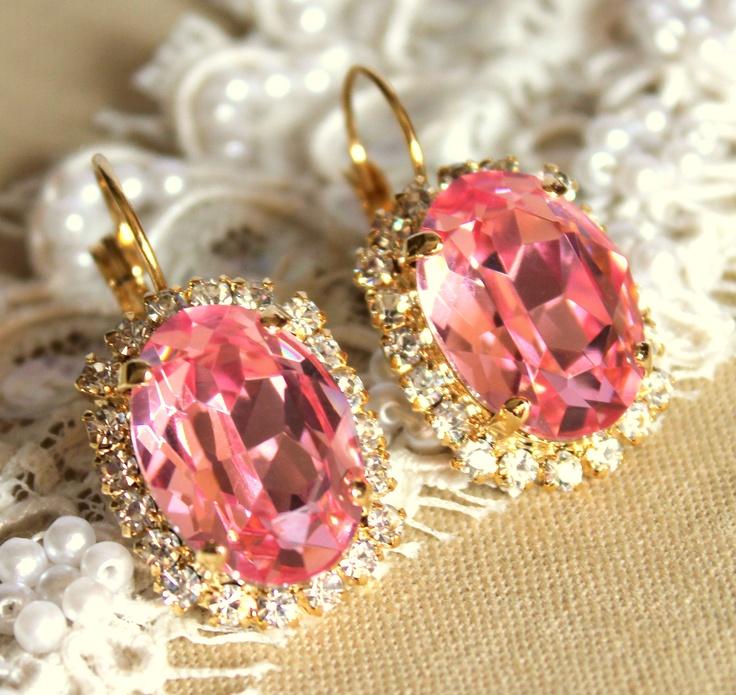 Crystal pink earrings.Beautiful Earrings, Post Earrings, Fashion Statement, Fashion Editor, Pink Earrings, Crystals Pink, Earrings 14K, Earrings Real, Gold Earrings