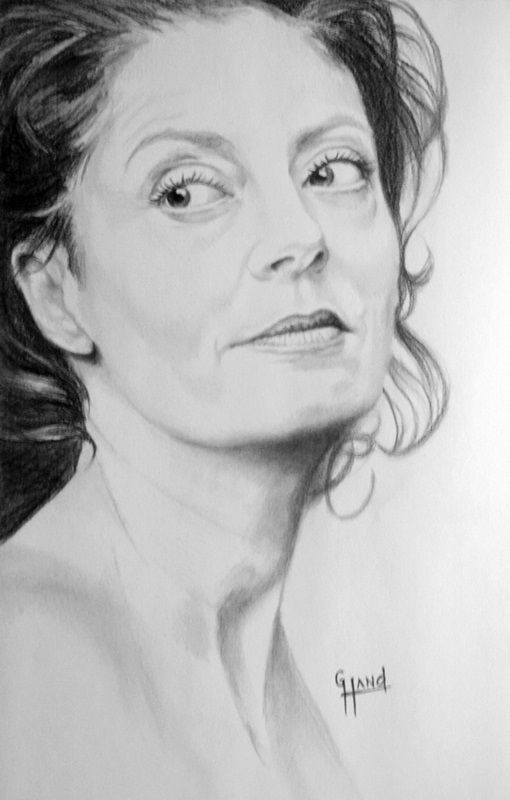 """............Susan Sarandon........ .....11""""x 17"""" pencil drawing by Greg Hand...........Commission a drawing from your photo"""
