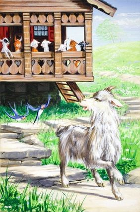 Mother goat leaves her kids at home - The Wolf And The Seven Little Kids