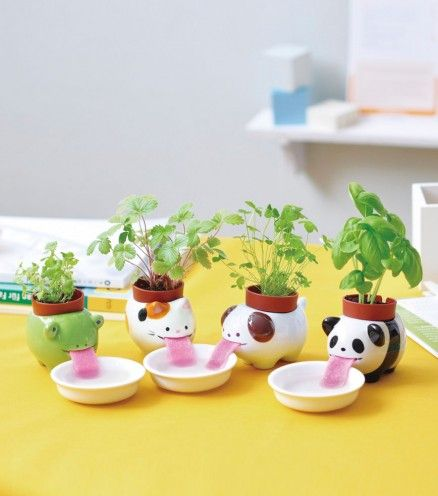 Ces Peropons japonais sont des adorables petits animaux en céramique, qui grâce à leur langue en feutre alimentent la plante qui se trouve sur leur dos !