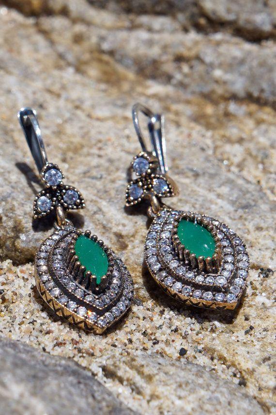 Emerald Sterling Silver Earrings by RicaJewelsCalifornia on Etsy, $42.00