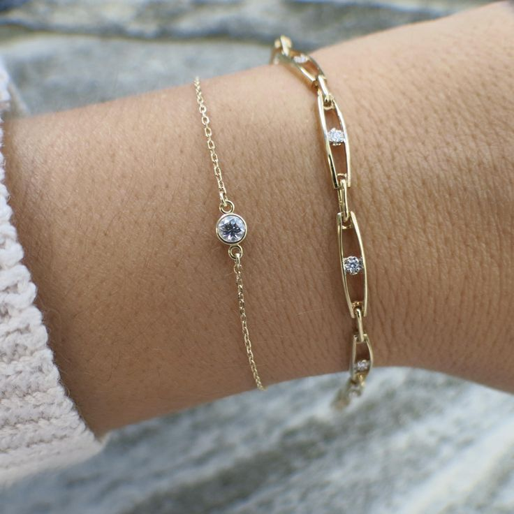 14K Yellow Gold Diamond Tennis Layering Bracelet – Bracelets