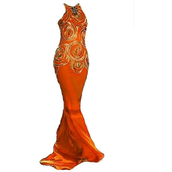 PrettyBaby for GG Return of the Ring! ❤ liked on Polyvore featuring dresses, gowns, orange, orange gown, orange evening gown, orange evening dresses and orange dresses