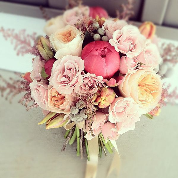 Peach, pink, coral bouquet by Hey Gorgeous