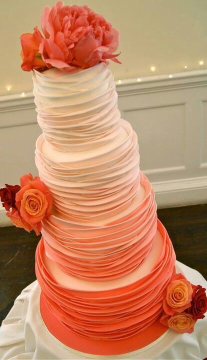 Modern Coral Ombré Ruffle Wedding Cake. It is absolutely stunning! #primpwedding