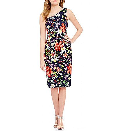 David Meister OneShoulder Floral Embroidered Sheath Dress #Dillards