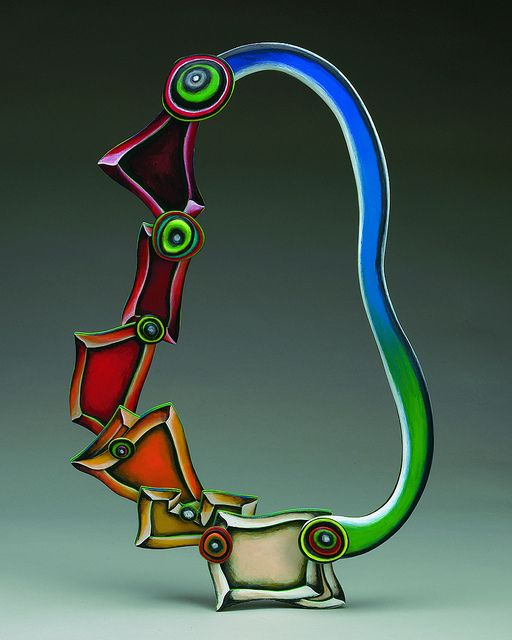 "Necklace |  Marjorie Schick.  Elizabeth Murray necklace"" (2009).  Painted wood. / love. #jewelrydesign"