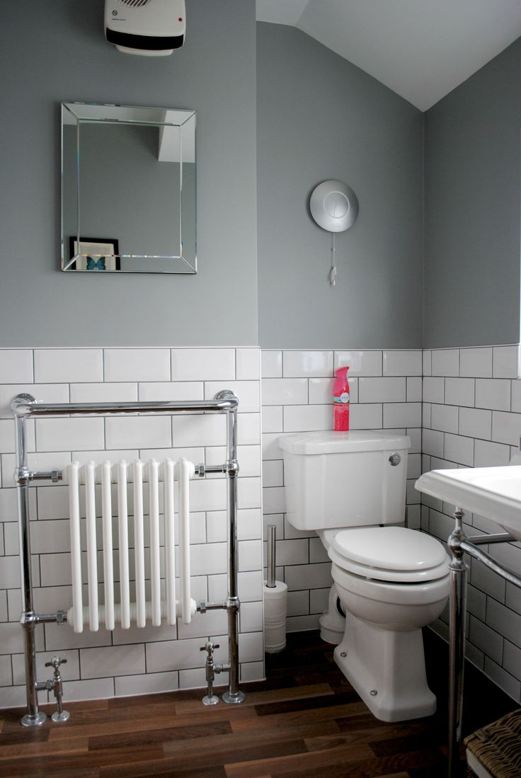 House Renovation! The Bathroom Makeover - Grey bathroom with subway tiles, on The Spirited Puddle Jumper Blog.