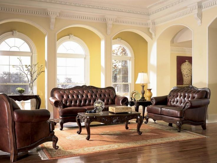 European Living Room Furniture. Victoria Classic Button Tufted Leather Sofa Set  looks familiar Find this Pin and more on European style livingroom 42 best images Pinterest Luxury