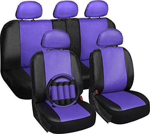 OxGord 17-teiliges Set aus Kunstleder / Lila und Schwarz. Auto-Sitzbezüge-Set – Airbag-kompatibel – Universell passend für PKW, LKW oder SUV. Mit Lenkradbezug
