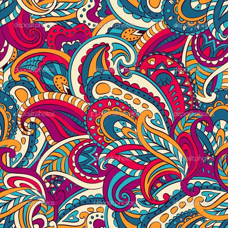 Floral paisley seamless pattern - Stock Illustration: 32124859