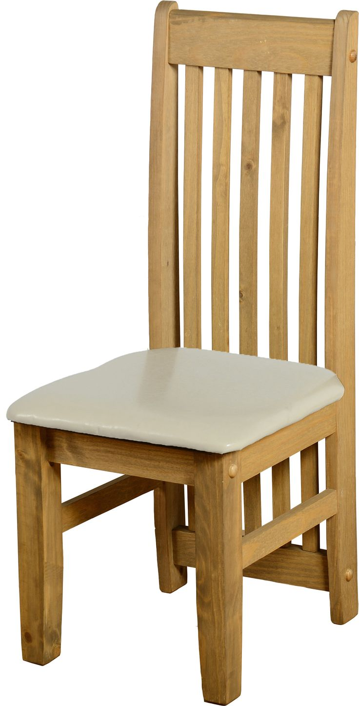 sales@spt-furniture.com Tortilla Chair (PAIR) Distressed Waxed Pine/Cream PU  Extra Information SEAT PAD SIZE W425 D445 SEAT PAD HEIGHT H455 BACKREST HEIGHT H615