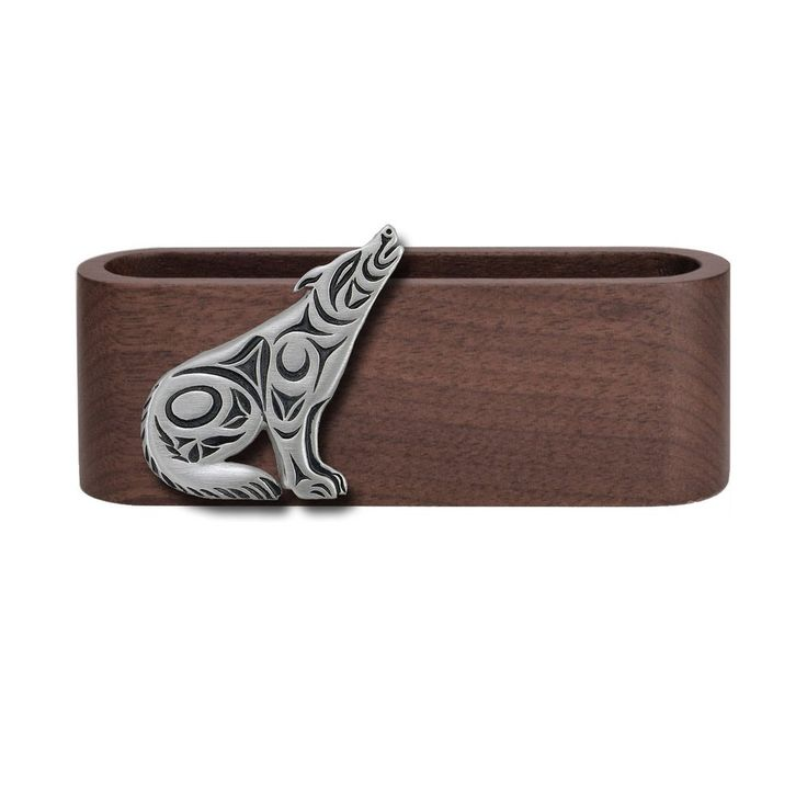 Wooden Business Card Holder with Fine Pewter Wolf Emblem