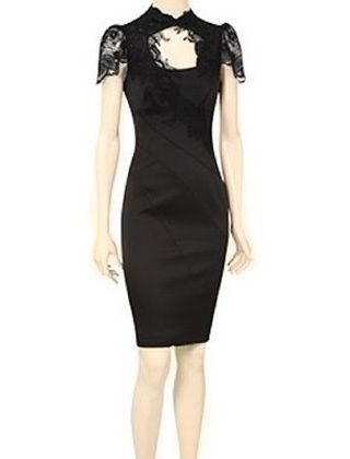 Karen Millen Double Shoulder Pencil Dress Black