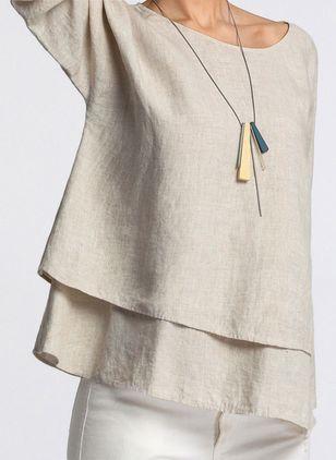 781da7bae7e98f Solid Arabian Round Neckline Long Sleeve Blouses - Floryday   floryday.com