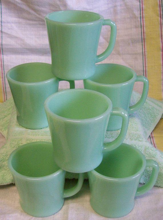 Vintage Fire King Jadite Jadeite Green Glass Restaurant Ware D Handle Coffee Mug Set of 6