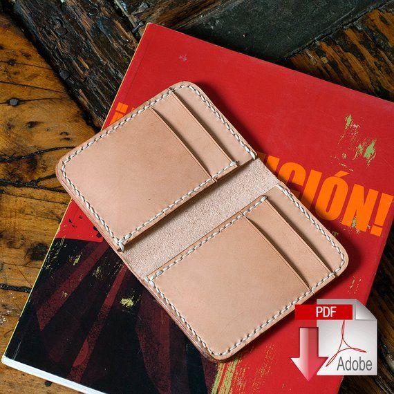 9ceb058ea3e3 Leather Vertical 6 Pocket Wallet PDF Digital Template (A4 ...