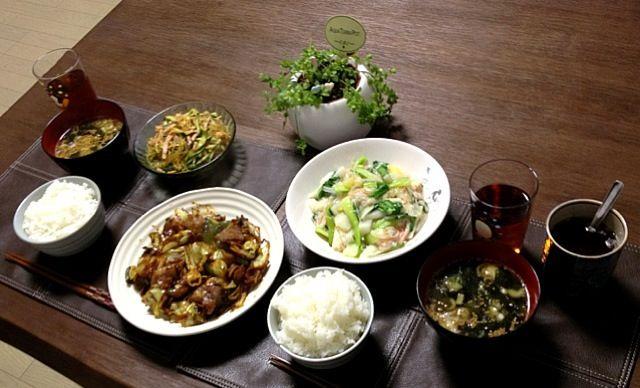 わかめスープ、胡麻とわかめをタップリ入れたから美容に良いよ〜!(^ν^) - 21件のもぐもぐ - 回鍋肉、中華春雨サラダ、蟹と長芋と青梗菜の塩炒め、わかめスープ、ご飯、菊芋茶 by pentarou