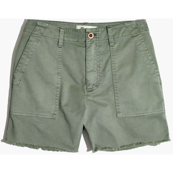 MADEWELL Garment-Dyed Cutoff Shorts ($65) ❤ liked on Polyvore featuring shorts, washed olive, olive green shorts, high waisted cut off shorts, cutoff shorts, army shorts and stretchy high waisted shorts