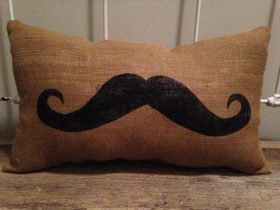 Burlap Mustache Pillow Lumbar Mustache Pillow by TwoPeachesDesign, $25.00
