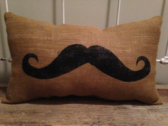 Burlap Mustache Pillow Lumbar Mustache Pillow by TwoPeachesDesign, $28.00 #mustache